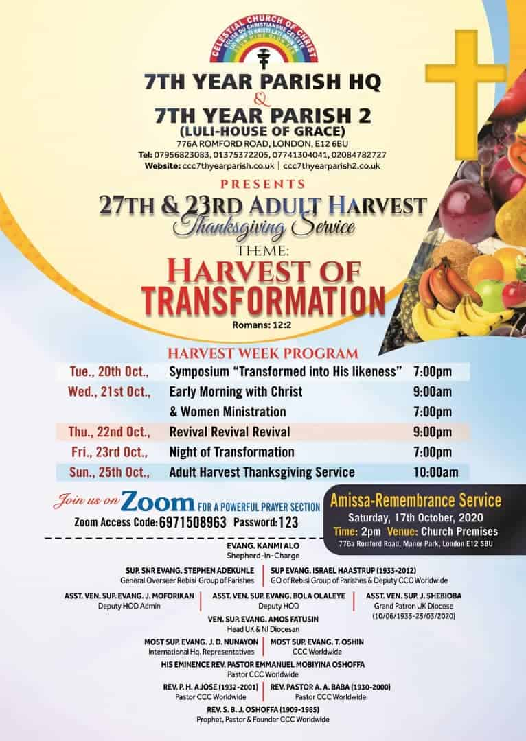 celestial church of christ 7th year parish luli house of grace adult harvest flyer